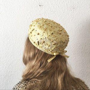 Vintage 60s Gold Brocade Cocktail Pill Box Hat Cap